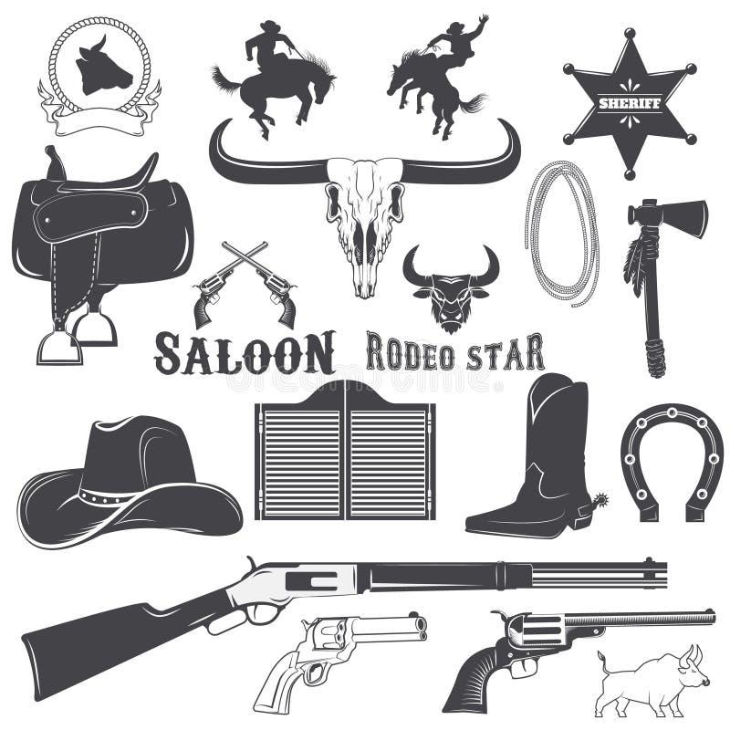 Elementos do projeto do vaqueiro ilustração do vetor