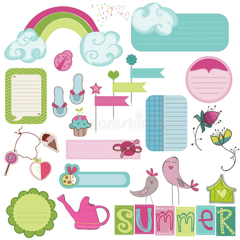 Elementos do projeto do verão para o scrapbook ilustração royalty free