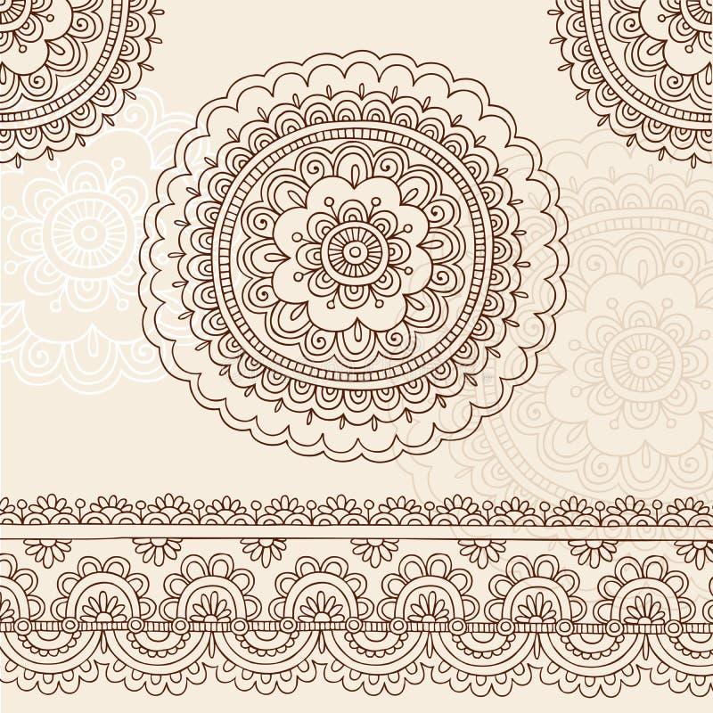 Elementos do projeto do vetor do Doodle da mandala de Mehndi do Henna ilustração stock
