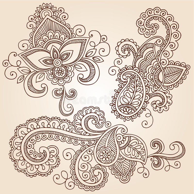 Elementos do projeto do vetor do tatuagem de Mehndi dos Doodles do Henna ilustração do vetor