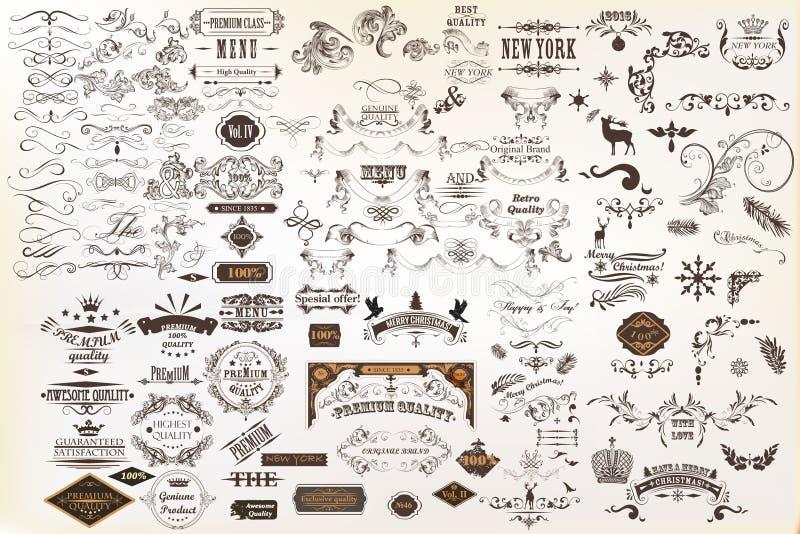 Elementos do projeto do vetor do vintage e decorações caligráficos da página ilustração royalty free