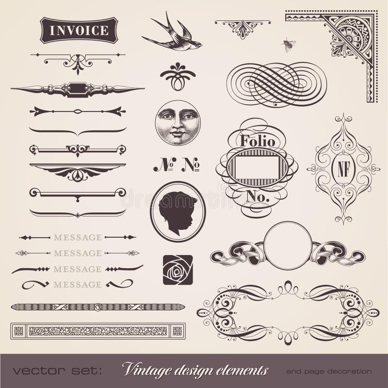 Elementos do projeto do vintage ilustração do vetor