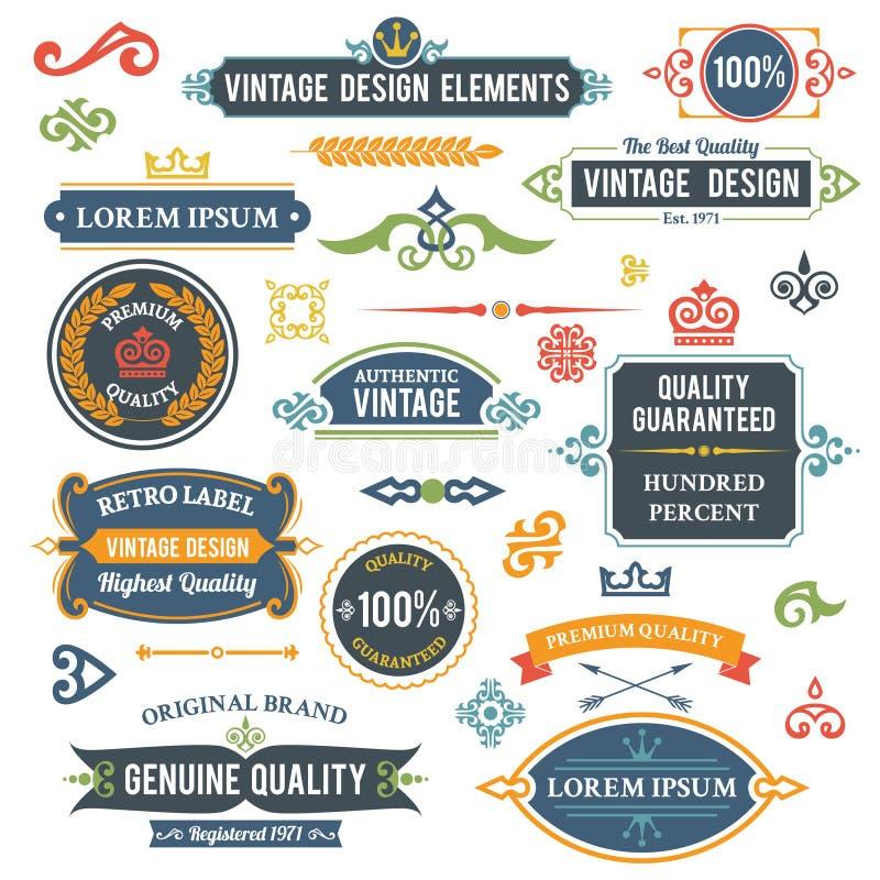Elementos do projeto do vintage ilustração royalty free