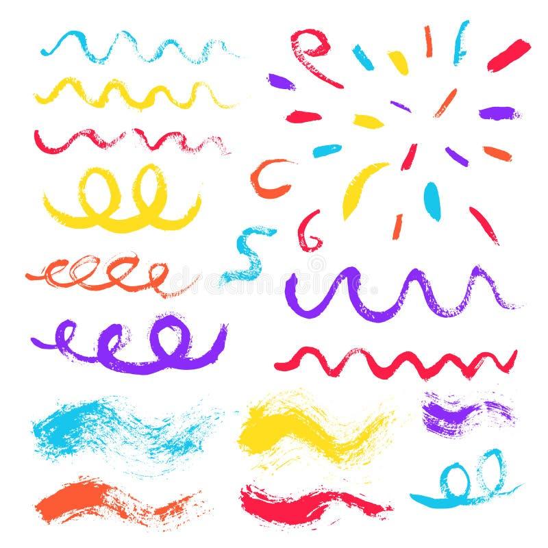 Elementos do projeto dos confetes dos cursos da escova ilustração royalty free