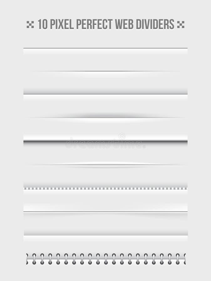 Elementos do projeto dos divisores da Web ilustração stock