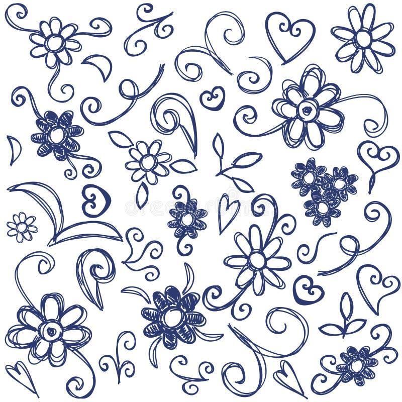 Elementos do projeto dos Doodles ilustração do vetor