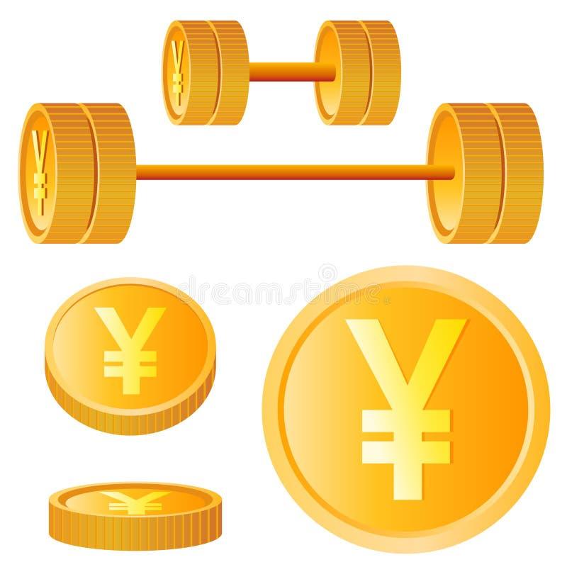 Elementos do projeto dos ienes ilustração do vetor