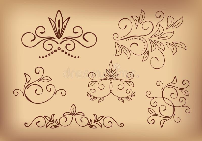 Elementos do projeto floral de Brown - jogo ilustração do vetor