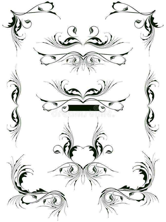 Elementos do projeto floral do vintage ilustração do vetor