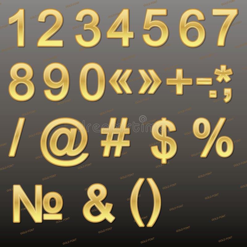 Elementos do projeto - fonte, números e símbolos do ouro 3D ilustração stock