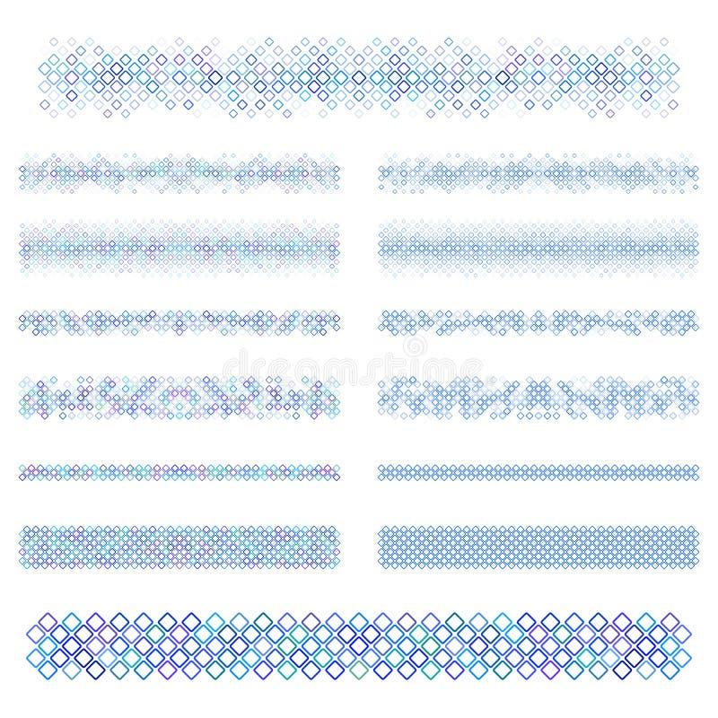 Elementos do projeto - linha azul grupo do divisor ilustração stock