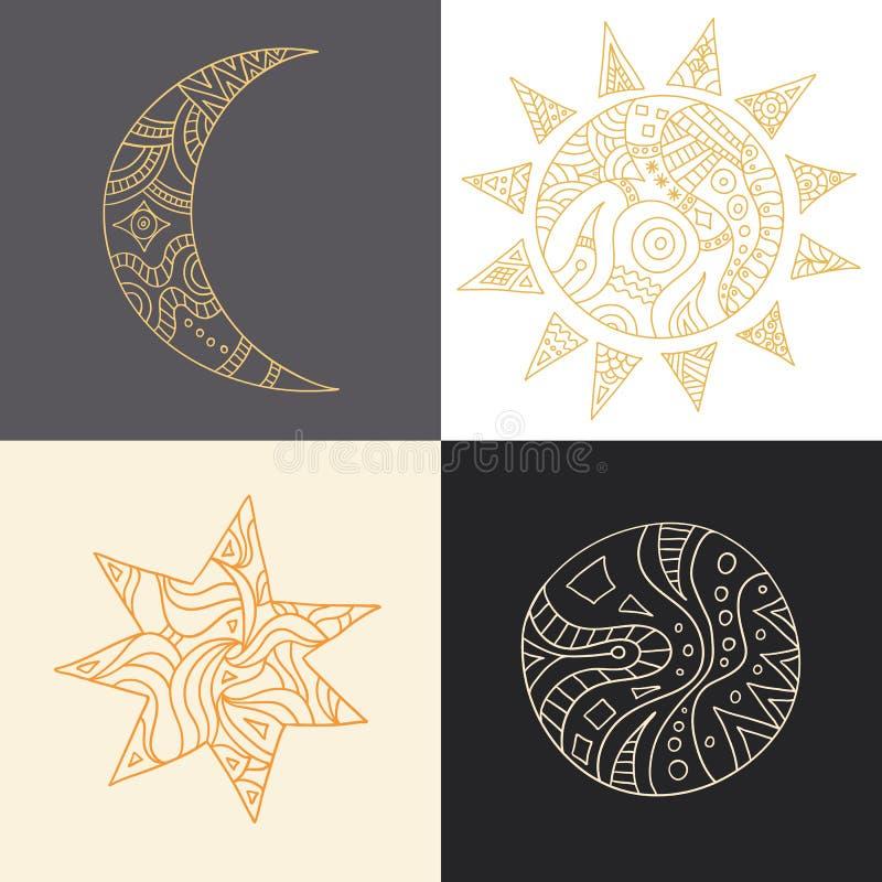 Elementos do projeto do logotipo Ícones do vetor do mês, do sol, da lua e das estrelas ilustração royalty free