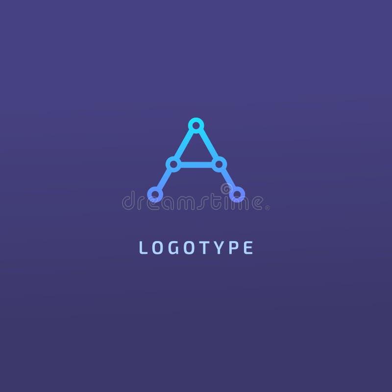 Elementos do projeto do monograma, molde gracioso Projeto elegante caligráfico do logotipo Uma linha monograma do logotipo da art ilustração royalty free