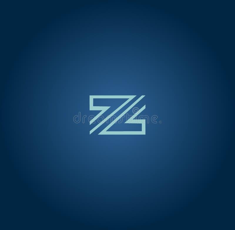 Elementos do projeto do monograma, molde gracioso Linha elegante caligráfica projeto do logotipo da arte Sinal Z do emblema da le ilustração royalty free