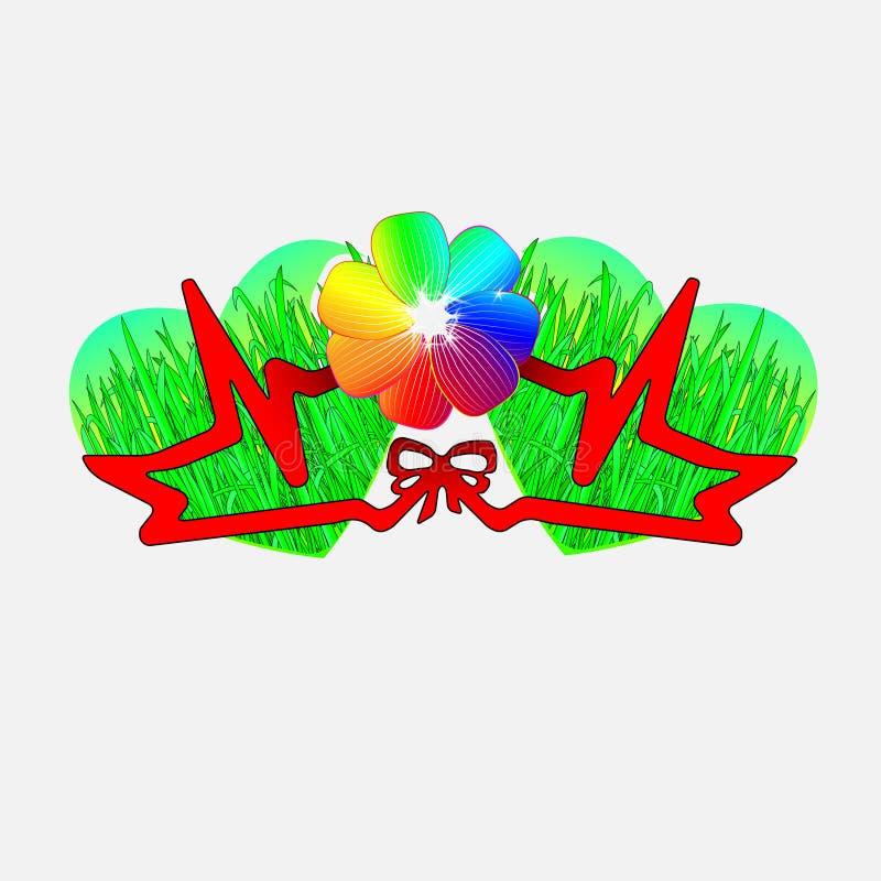 Elementos do projeto para o dia do Valentim s Ame importar-se com o ambiente, o pulso da grama O conceito do amor da ecologia ilustração stock