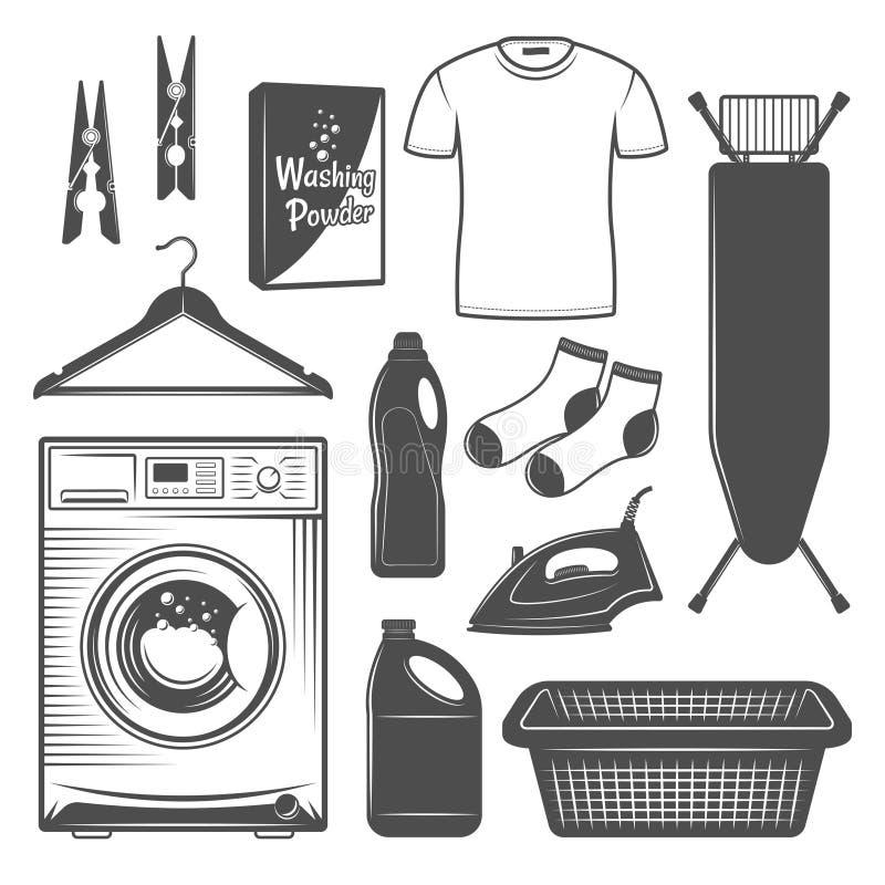 Elementos do projeto do vetor da lavandaria e do serviço ilustração stock