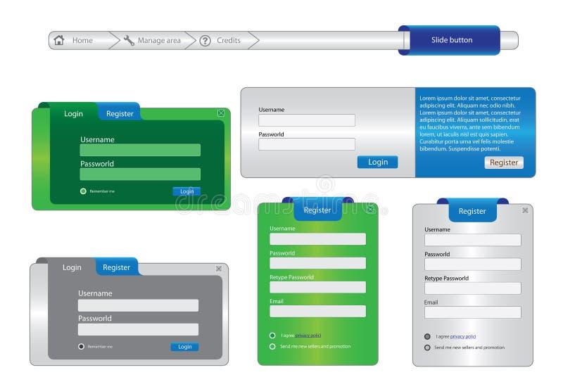 Elementos do quadro de projeto de Web ilustração do vetor