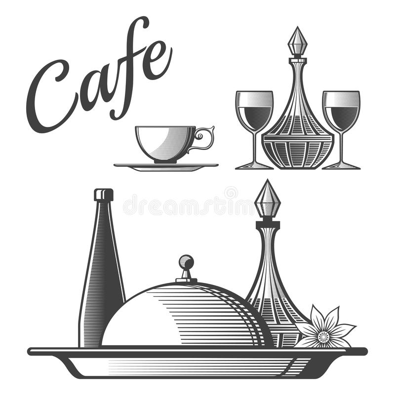 Elementos do restaurante - vector o copo, vidros de vinho, pratos ilustração do vetor