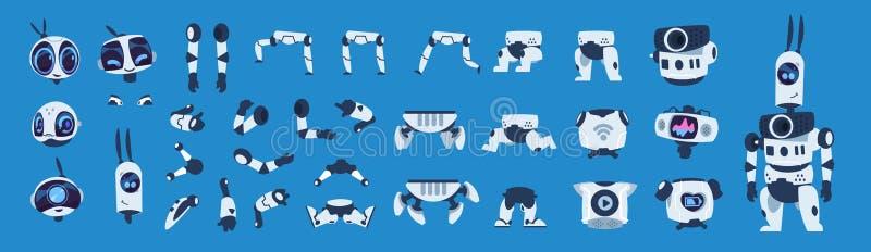 Elementos do rob? Grupo da animação do caráter do androide dos desenhos animados, construtor futurista da máquina com poses difer ilustração stock