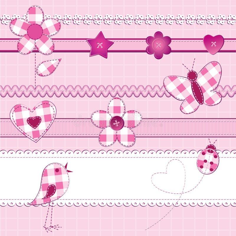 Elementos do Scrapbook na cor-de-rosa ilustração do vetor