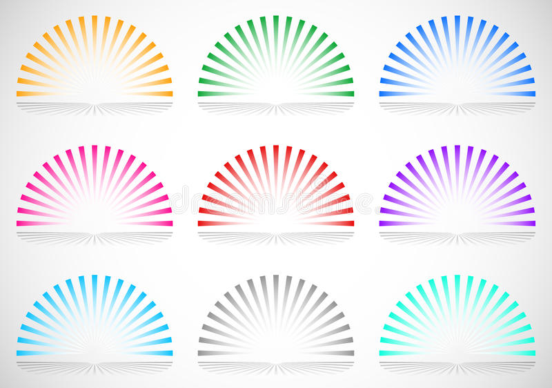 elementos do starburst/sunburst do círculo de 6 cores semi ilustração stock