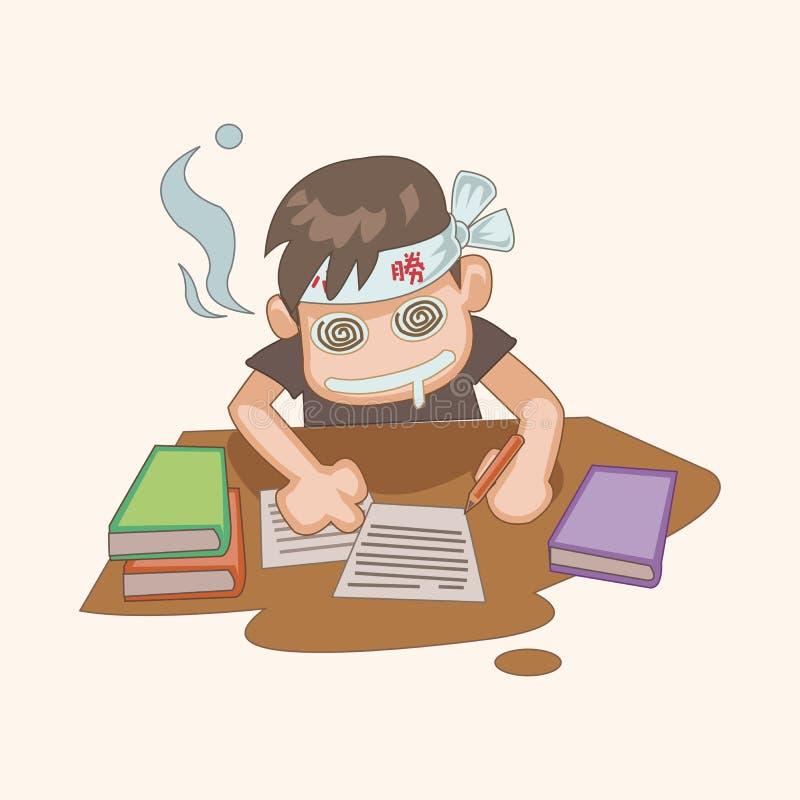 Elementos do tema dos desenhos animados do estudante ilustração royalty free
