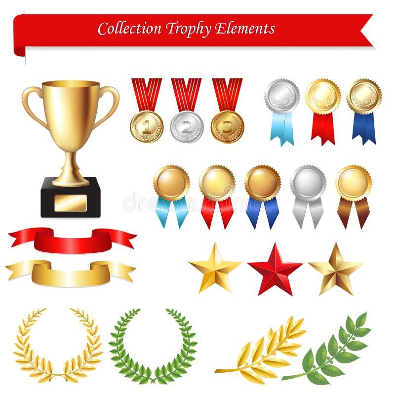 Elementos do troféu da coleção ilustração royalty free
