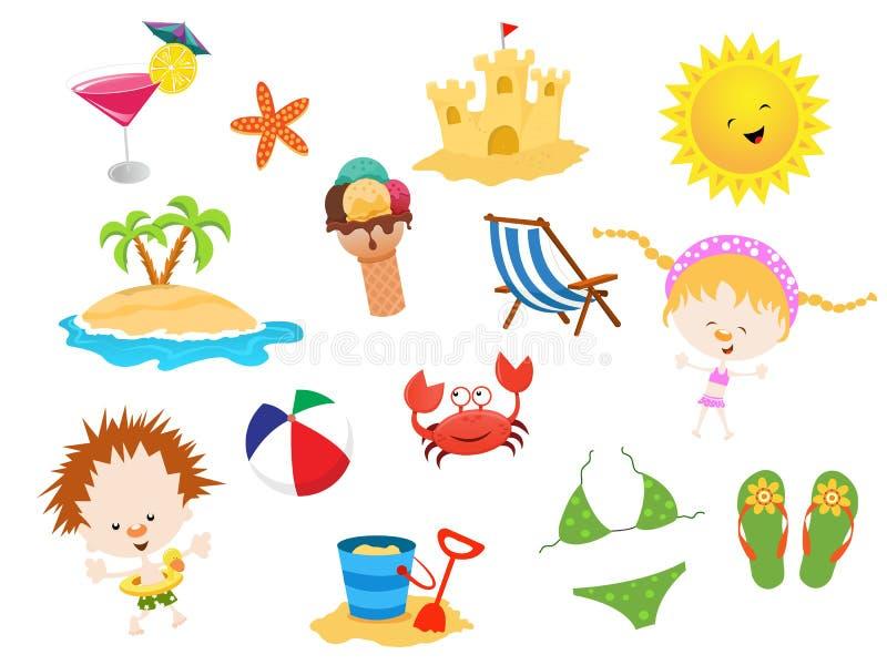 Elementos do verão ilustração do vetor