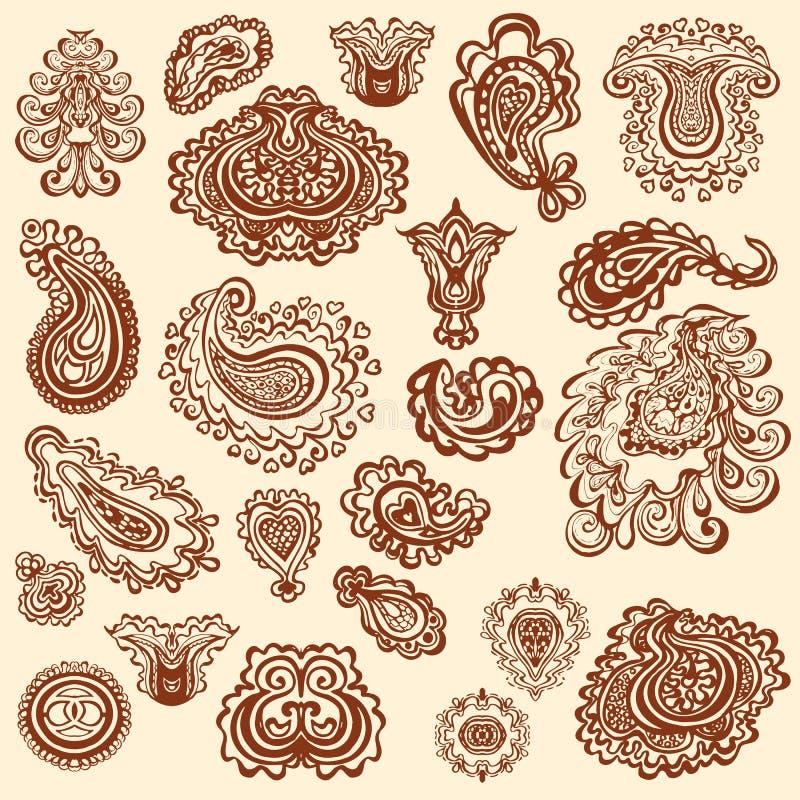 Elementos do vetor da garatuja da tatuagem da hena no fundo branco ilustração do vetor