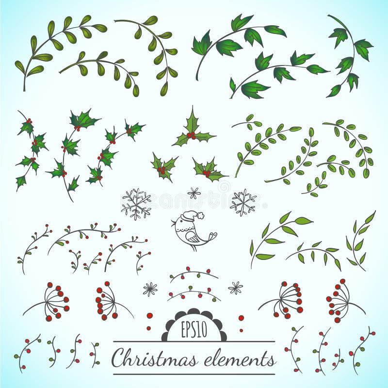 Elementos do vetor do Natal ilustração stock
