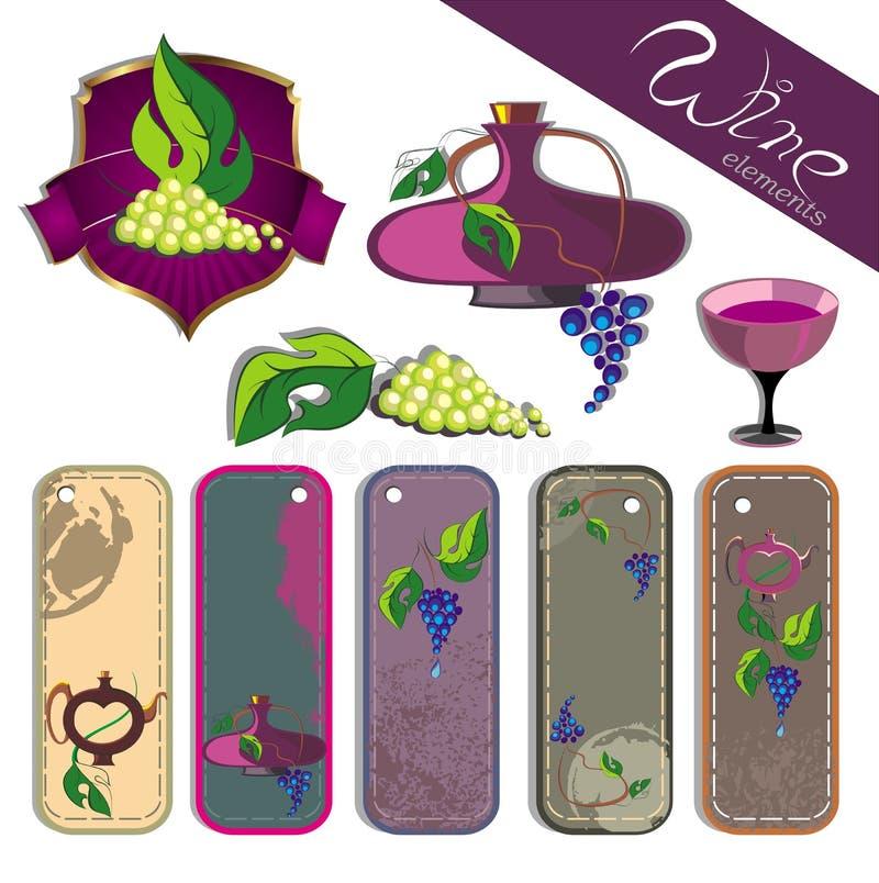 Elementos do vinho ilustração royalty free
