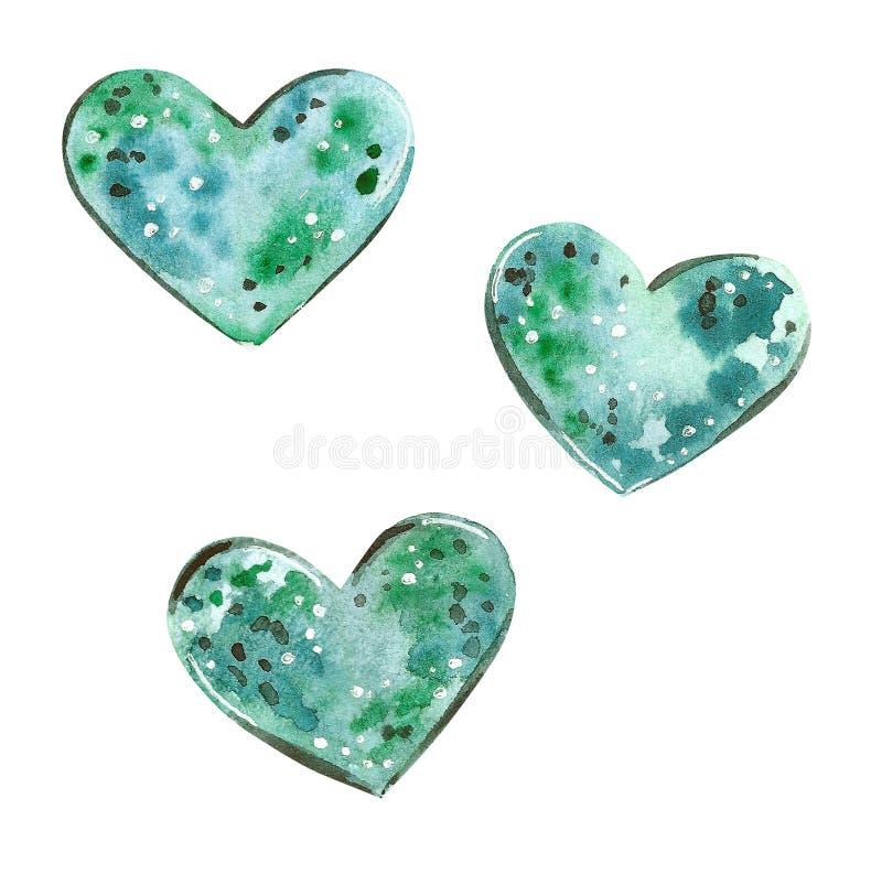 Elementos dos corações de Watercolorillustration na cor de turquesa ilustração do vetor