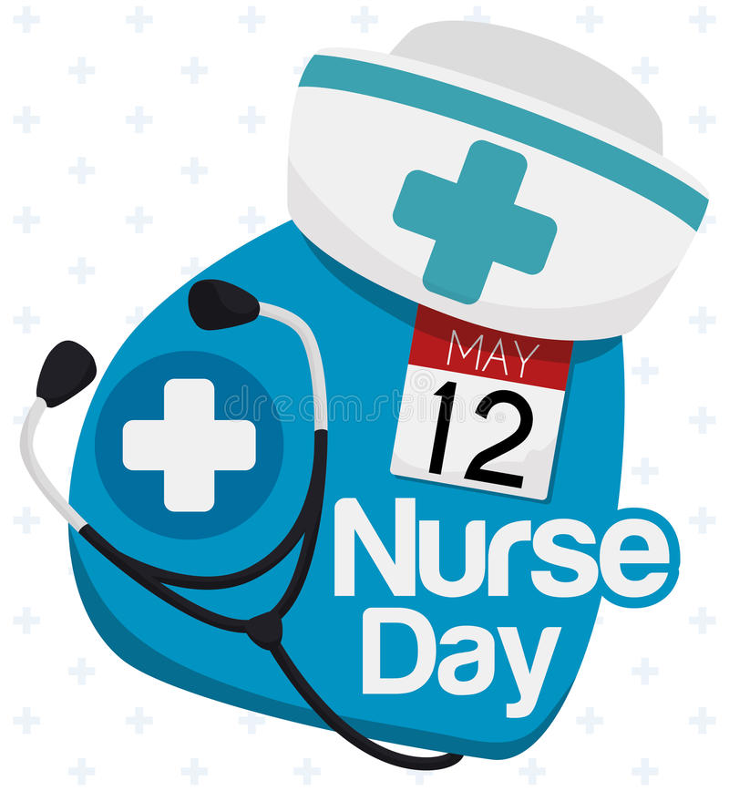 Elementos dos cuidados para comemorar enfermeiras dia, ilustração do vetor ilustração do vetor