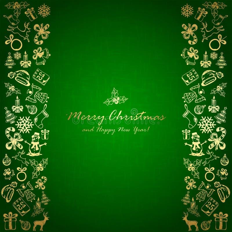 Elementos dourados do Natal no fundo verde ilustração stock