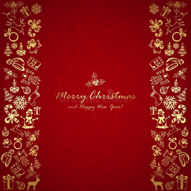 Elementos dourados do Natal no fundo vermelho ilustração royalty free