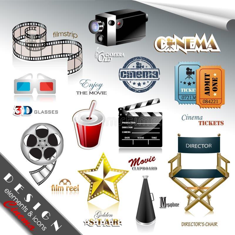 Elementos e ícones do projeto do cinema ilustração royalty free