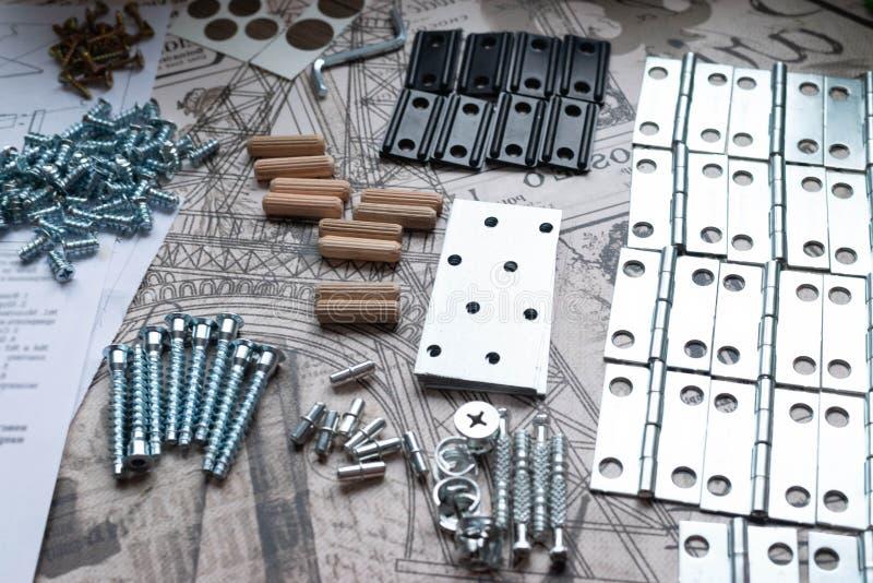 Elementos e ferramentas para o conjunto da mob?lia imagem de stock