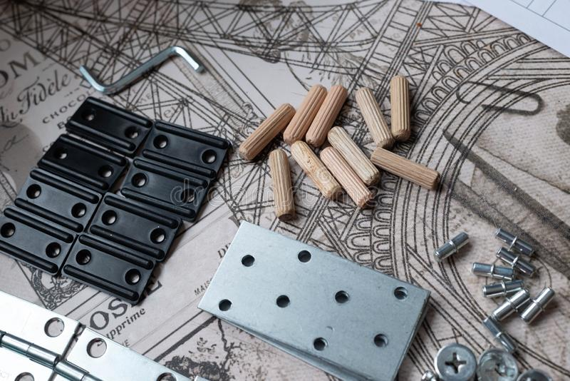 Elementos e ferramentas para o conjunto da mob?lia foto de stock