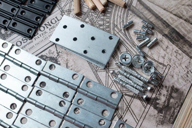 Elementos e ferramentas para o conjunto da mob?lia fotografia de stock royalty free