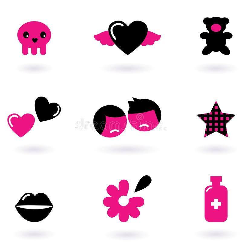 Elementos e iconos del diseño de Emo ilustración del vector