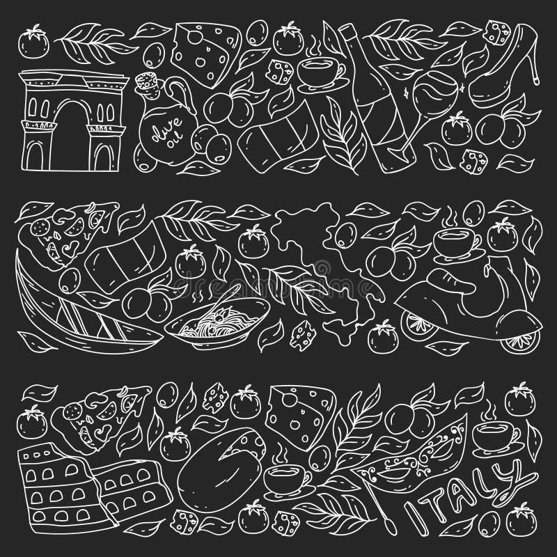 Elementos e iconos del vector de Italia Modelo del garabato con la cultura italiana, ciudades Roma, Venecia, Milán, queso, vino stock de ilustración