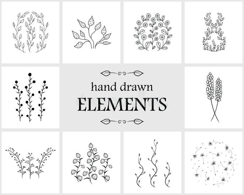 Elementos e iconos florales dibujados mano del logotipo stock de ilustración