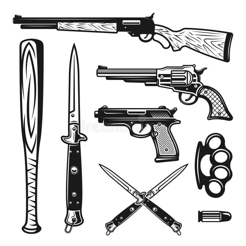Elementos e objetos do vintage do projeto do vetor das armas ilustração do vetor