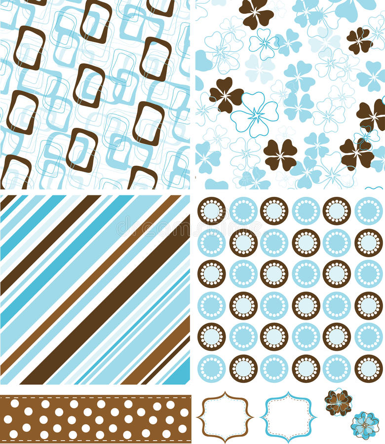 Elementos e testes padrões do Scrapbook para o projeto,   ilustração royalty free