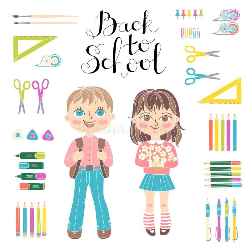 Elementos educacionais ajustados do projeto Estudantes menina e menino stationery Rotulação de volta à escola ilustração royalty free