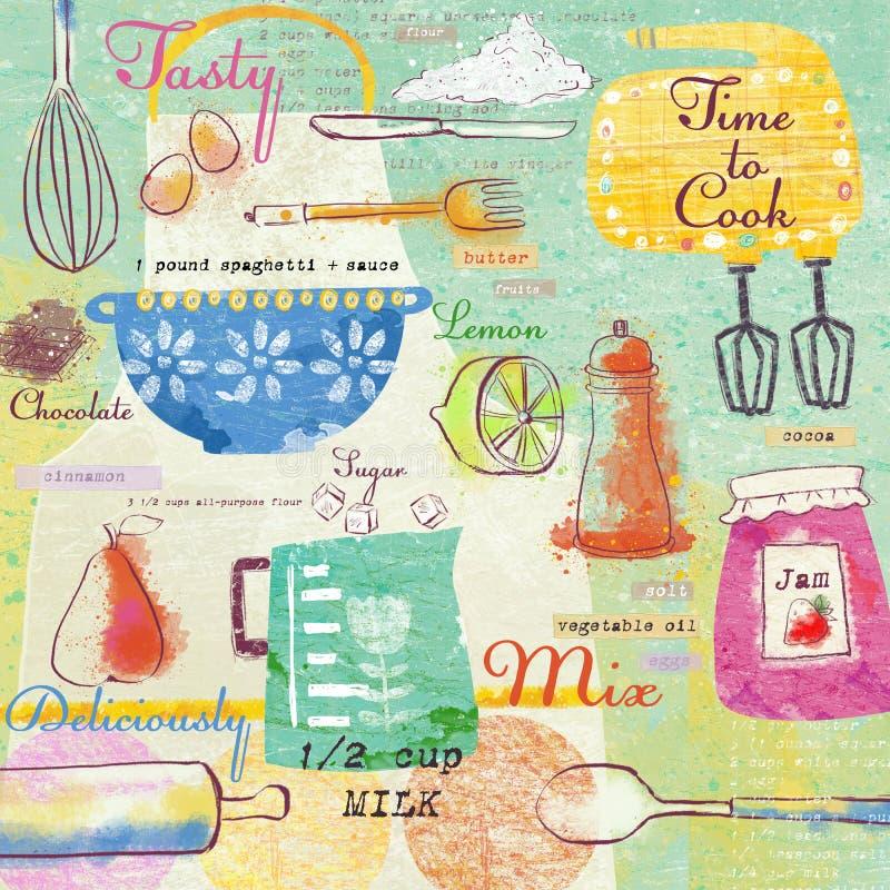 Elementos elegantes del diseño: bifurcación, cuchara, cuenco, mezclador, limón, cuchillo y otros Fondo del alimento stock de ilustración