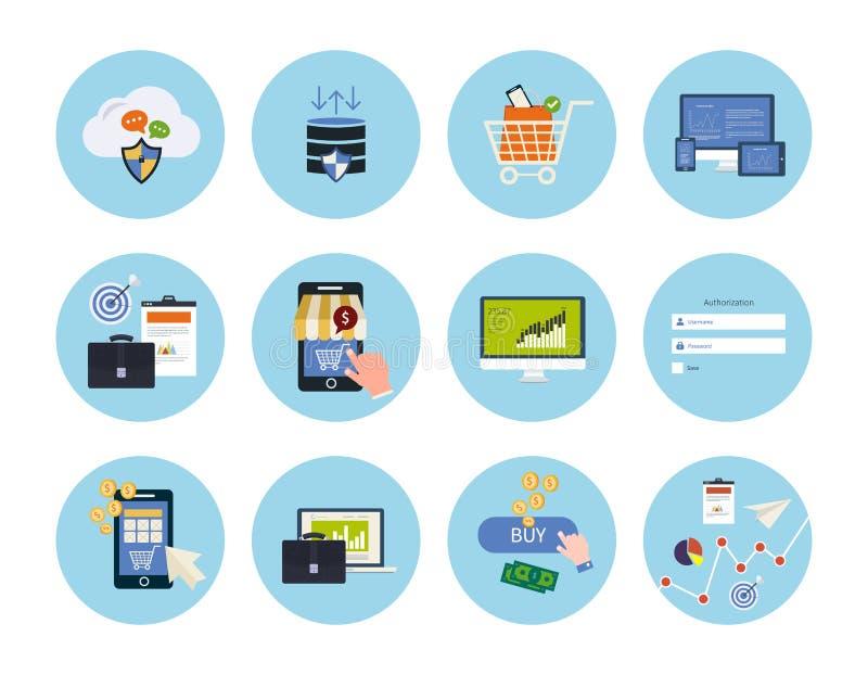 Elementos en línea de las compras ilustración del vector