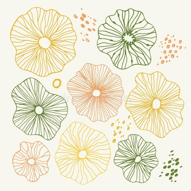 Elementos esboçado desenhados à mão do projeto da garatuja com flores, círculos Fundo abstrato da ilustração do vetor das cores n ilustração stock