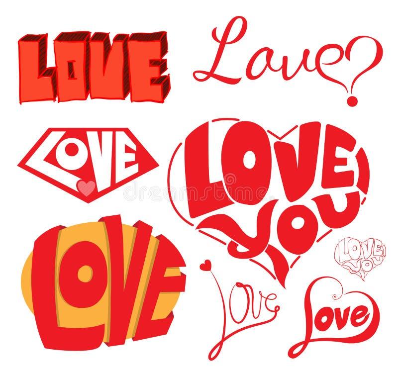 Elementos esboçado do projeto das garatujas do caderno do amor & dos corações ilustração do vetor