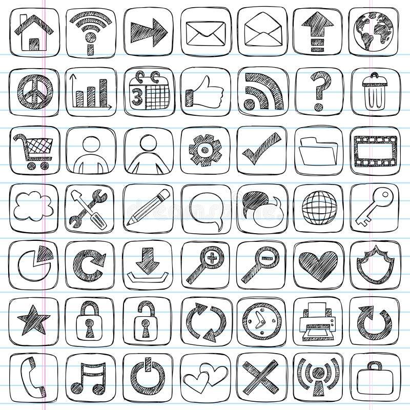 Elementos esboçado do projeto do computador do ícone do Web do Doodle ilustração do vetor
